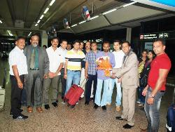 ACTORS & TEAM OF 'ORIYARDORI ASAL' TULU COMEDY MOVIE ARRIVED AT DUBAI AIRPORT