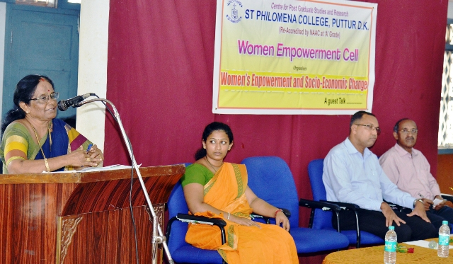 Guest talk on Women Empowerment and Socio - economic change at St Philomena College, Puttur