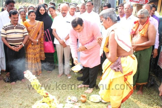 Minister Pramod Madhwaraj performs 'Guddali Pooje' for widening Kemmannu Road.