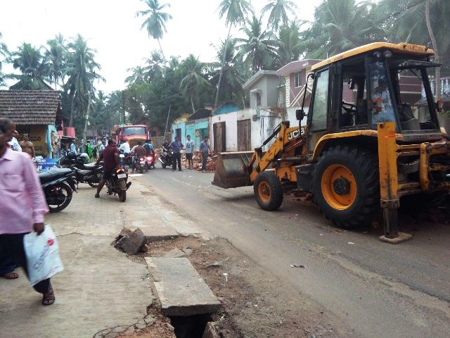 Ground work for widening Kemmannu Main Road begins.