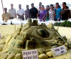 Sand sculptures as part of World sight day-2011at Malpe Beach