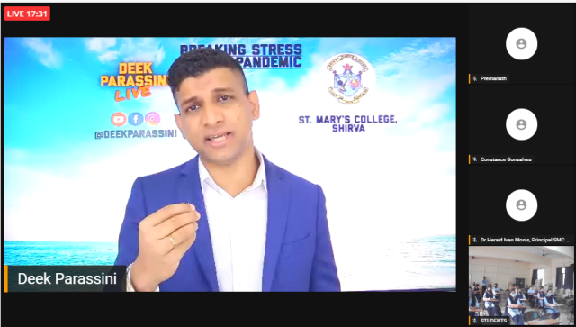 "webinar on ""Breaking the stress during Pandemic at St. Mary's College, Shirva."