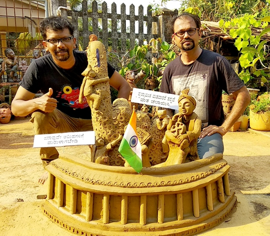 Udupi, April 17, 2019: Voting Awareness Sculpture