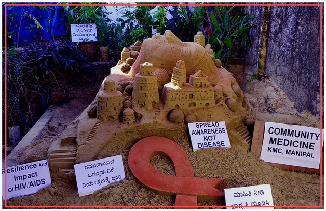 December 1: World Aids Day 2020 - Sand Carving Awareness in Manipal.