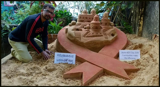 World aids day sand sculpture by Srinath manipal