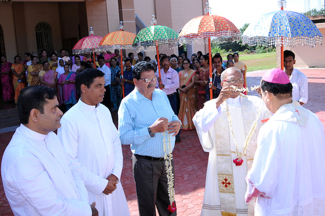 Udupi Bishop arrives at St John the Evangelist Church Pangla for his Pastoral visit