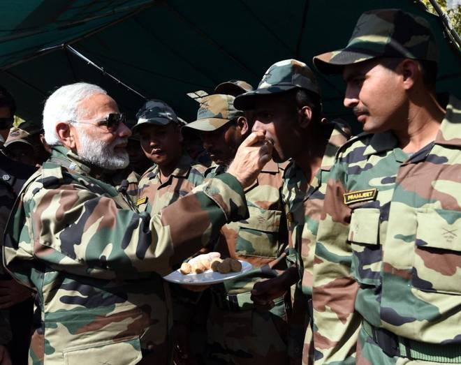 PM Modi celebrates Diwali with soldiers in J&K