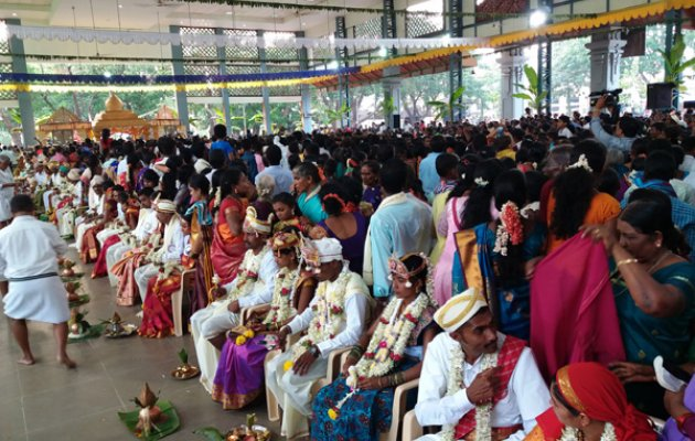 102 couples tie knot in mass marriage ceremony held at Dharmasthala Temple