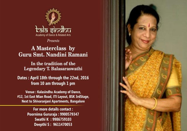 Kalasindhu Academy of Dance and Related Arts Presents a Masterclass by Guru Smt Nandini Ramani
