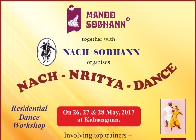 3-days' Residential Dance Workshop, titled 'Nach-Nritya-Dance', on May 26, 27 & 28, at Kalaangann.