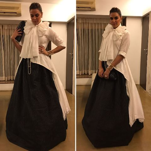 Neha Dhupia In Chola by sohaya, Channel Bag , Anmol and Personal Vintage Jewelry at Filmfare Awards