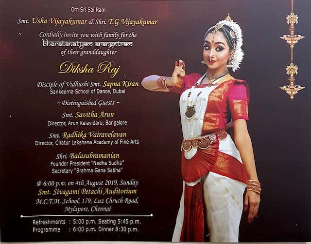 Deeksha Raj 's bharathanatyam Arangetrum on August 4th.