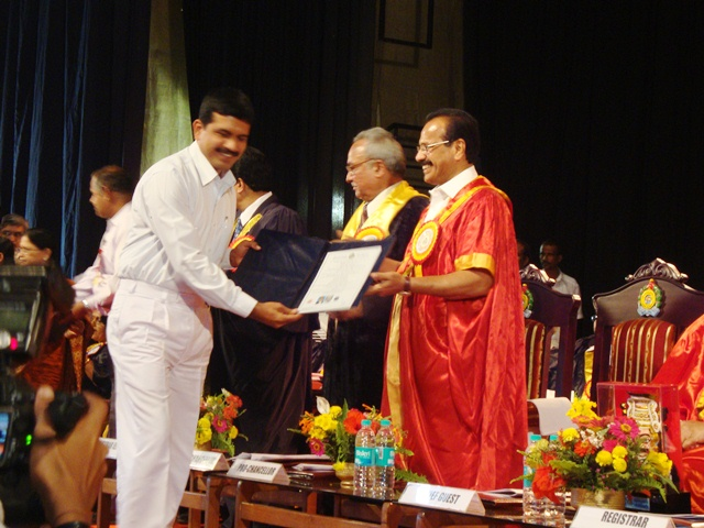 Mangalore varsity convocation: Herald Monis(lecture of Milgress) Ph.D.degree received from Mr. D.V. Sadananda Gowda