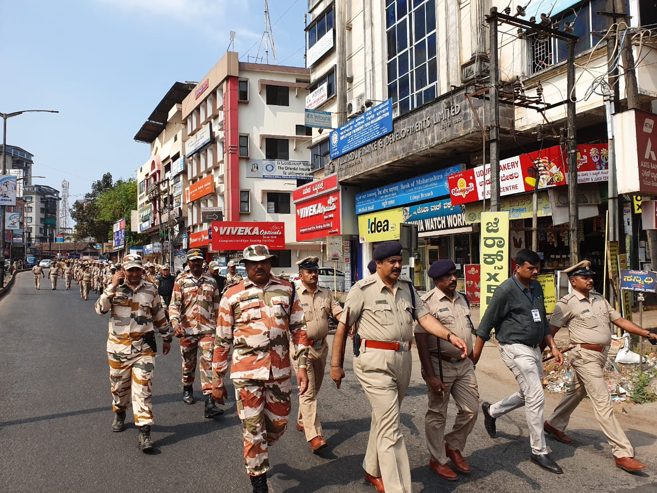District Police along with ITBP took out a route march in Udupi district