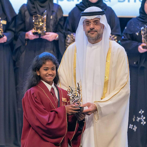 SHEIKH HAMDAN AWARD WINNER 'SPARSHA SHETTY' BAGGED 'SHARJAH AWARD FOR EDUCATION EXCELLENCE' FOR THE YEAR 2017-18