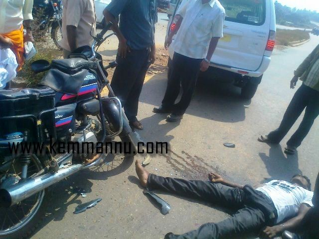 Bike rider seriously injured in an accident at NH  near Brahmavar.