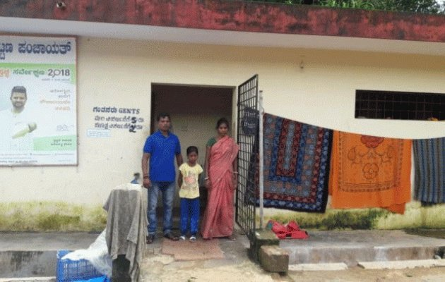 Public toilet becomes home for civic worker's family in Belthangady