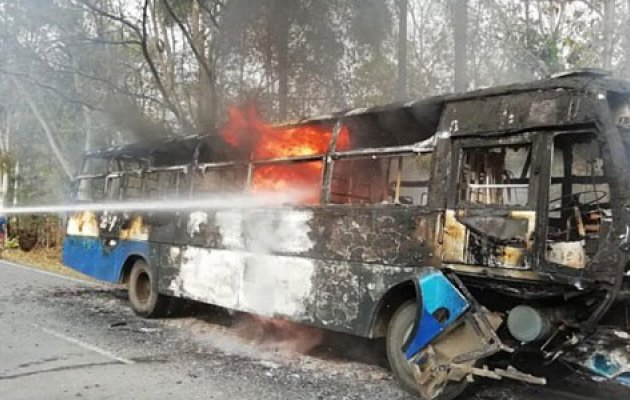 Trio charred to death after Bike, BMTC bus go up in flames