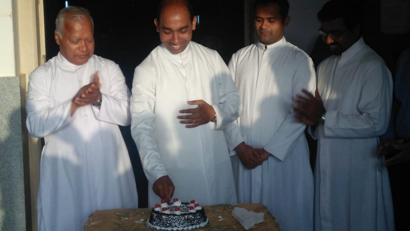 Rev Fr. Canute Noronha celebrates his 34th Birthday at Milagres