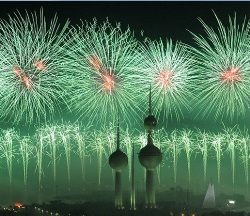 Celebrating a golden jubilee Kuwait style: Gulf state spends £10million to put on the biggest firework display of all time