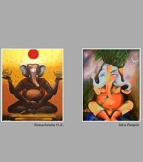 Ganesh-Paintings Exhibition By Artist's Forum Udupi