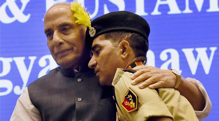 Rajnath Singh breaks protocol, hugs brave BSF jawan suffering disability