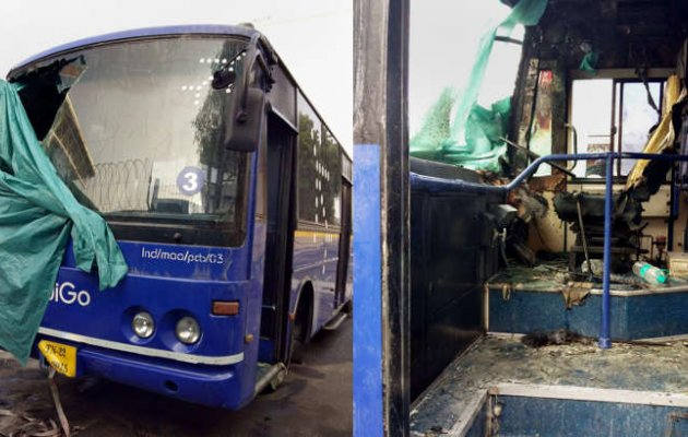 Indigo bus catches fire, passengers rescued