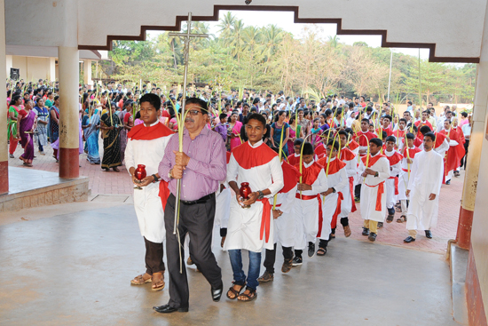 Palm Sunday Celebration at st john the evangelist church, Shankerpura
