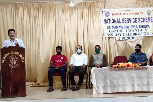 Gandhi jayanthi and Nss day was celebrated at St. Mary's college  on 2-10-2020