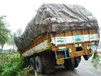 A Truck escaped disaster at Kallianpura Bridge
