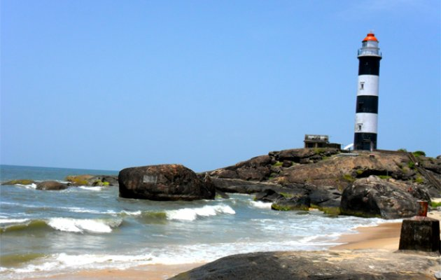 Kapu light house submerged in water after sea erosion