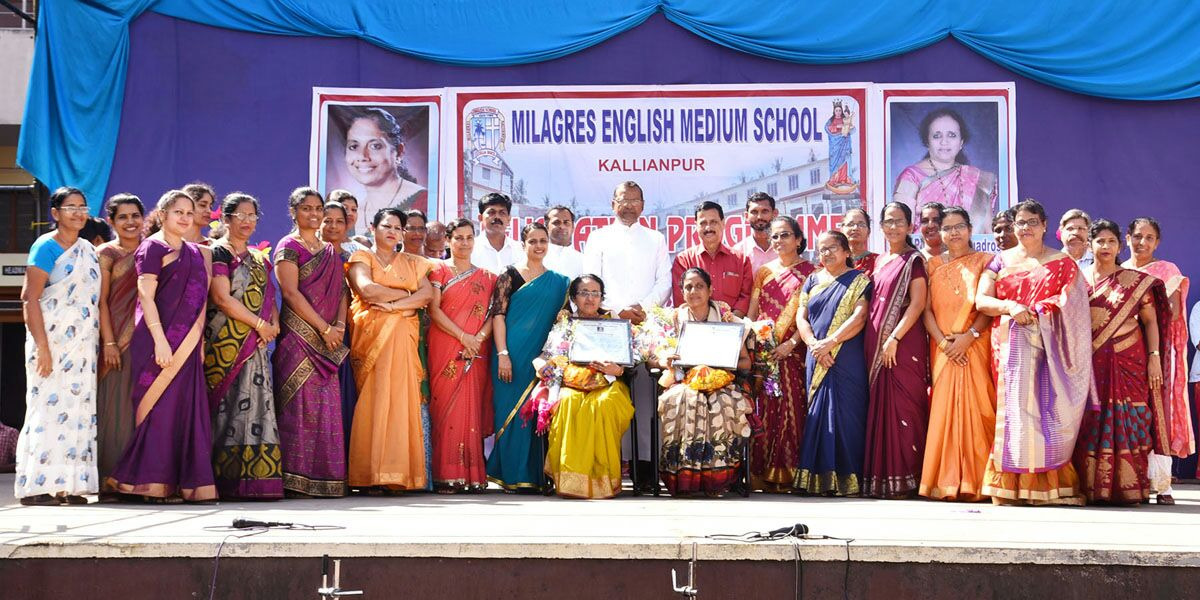 Farewell bid function held for two staff of Milagres English Medium School, Kallianpur