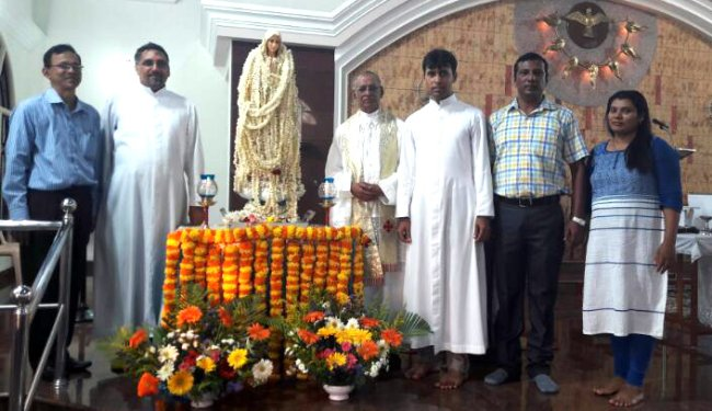 Mangaluru: Statue of Mary brought to Paldane church, marking her apparation at Fathima
