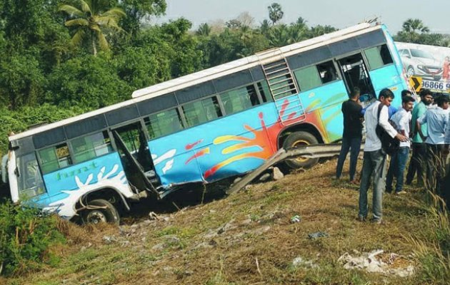Technical failure: Express bus goes off-road