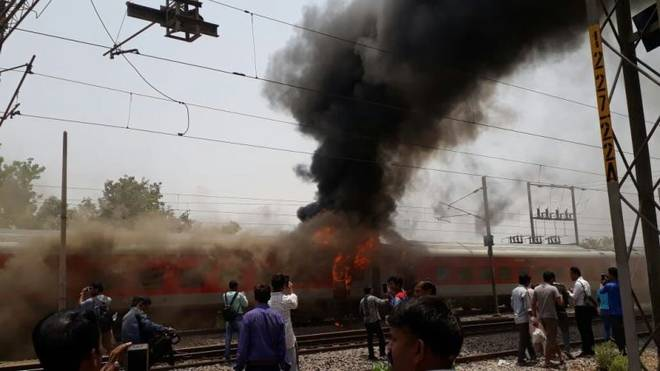 Two coaches of A.P. Express catch fire near Gwalior