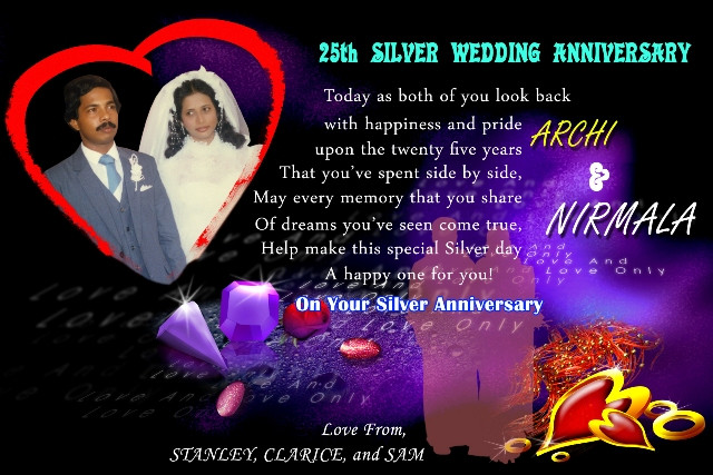 Kemmannu Com Happy Silver Wedding Anniversary To Archi And